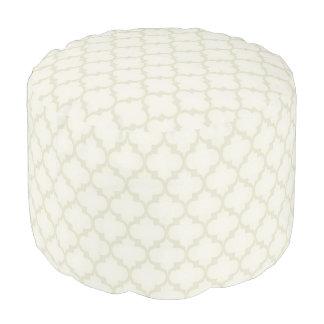 Cream quatrifoil pattern pouf