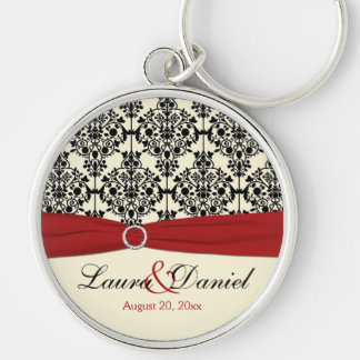 Cream, Red, and Black Damask Wedding Keychain