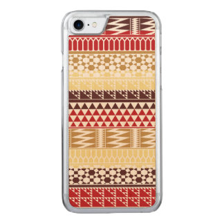 Cream Red Geo Abstract Aztec Tribal Print Pattern Carved iPhone 7 Case