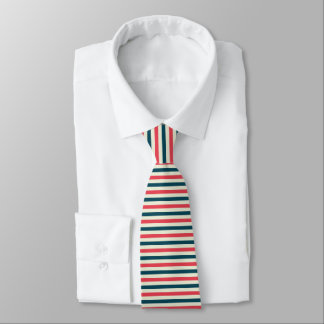 Cream, Red, Navy Blue Striped Necktie