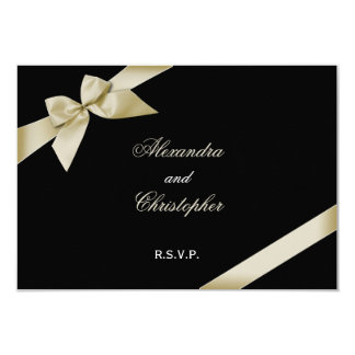 Cream Ribbon Wedding RSVP Card