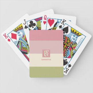 Cream Rose Green Color Palette Stripes Monogram Bicycle Playing Cards