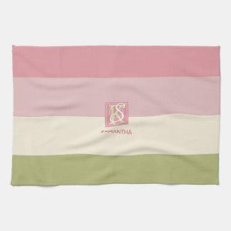 Cream Rose Green Color Palette Stripes Monogram Kitchen Towel