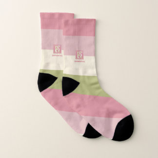 Cream Rose Green Color Palette Stripes Monogram Socks