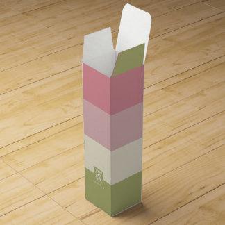 Cream Rose Green Color Palette Stripes Monogram Wine Gift Box