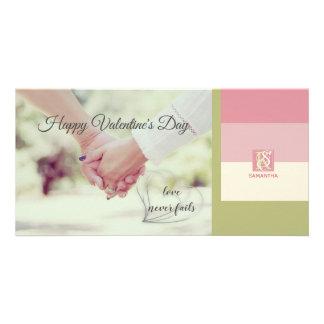 Cream Rose Green Romantic Palette Photo Monogram Card