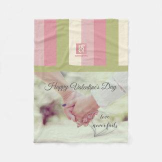 Cream Rose Green Romantic Palette Photo Monogram Fleece Blanket
