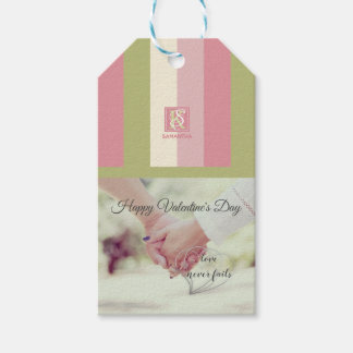 Cream Rose Green Romantic Palette Photo Monogram Gift Tags