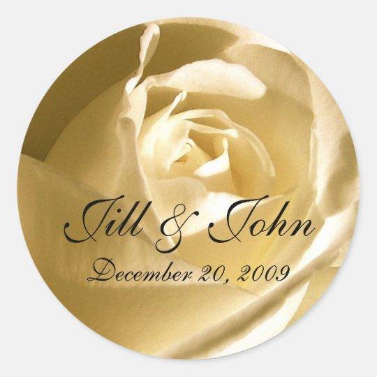 Cream Rose Names Wedding Favour Sticker