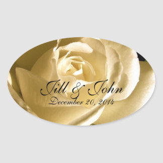Cream Rose Save the Date Oval Wedding Label Oval Sticker