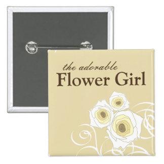 Cream Roses and Swirls Flower Girl Wedding Button