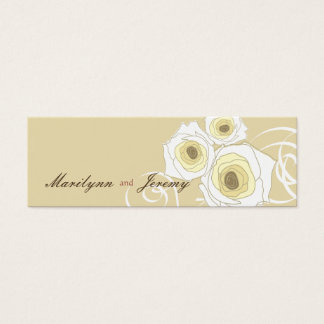 Cream Roses & Swirls *01 Custom Thank You Gift Tag Mini Business Card