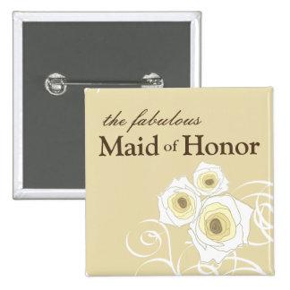 Cream Roses & Swirls Maid of Honor Wedding Button