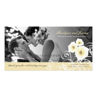 Cream Roses Swirls Wedding Thank You Photo Card
