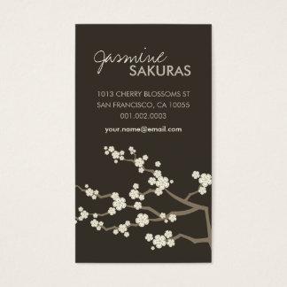 Cream Sakura Cherry Blossoms Oriental Zen Asian Business Card