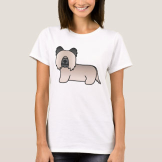 Cream Skye Terrier Breed Cartoon Dog Illustration T-Shirt