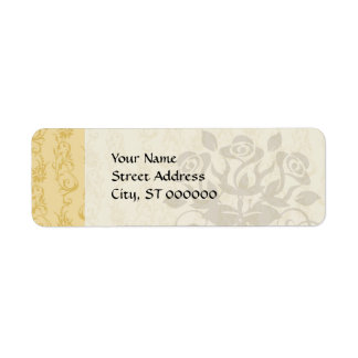 cream swirl damask return address label