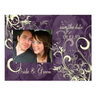 CREAM SWIRLS SAVE THE DATE, Photo Postcard