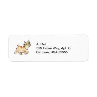 Cream Tabby Manx Kitty Return Address Label