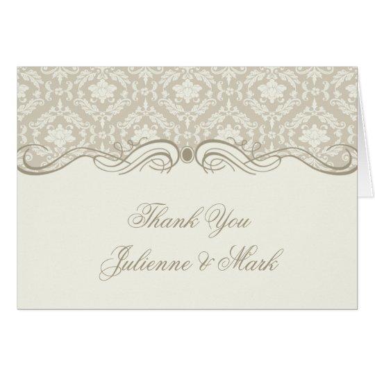 Cream Tan Damask Swirls Thank You Card