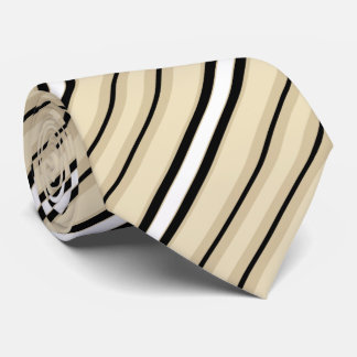 Cream Tan Taupe Beige Black Stripe Pattern Tie