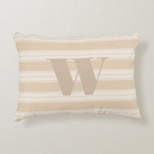 Cream & Taupe French Stripes and Monogram Letter Accent Pillow