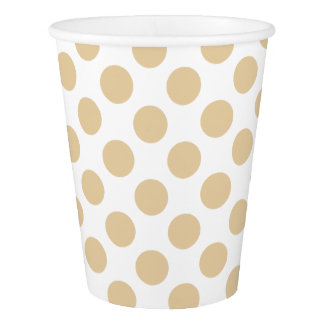 Cream Tea Polka Dots on White Paper Cup