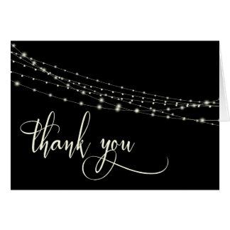 Cream Typography 32 Black String Lights Thank You Card