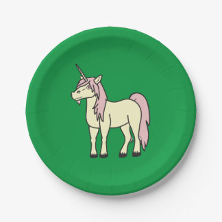Cream Unicorn with Light Pink Mane Paper Plate