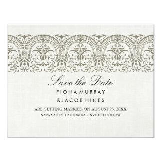 Cream Vintage Damask Wedding Save The Date Card