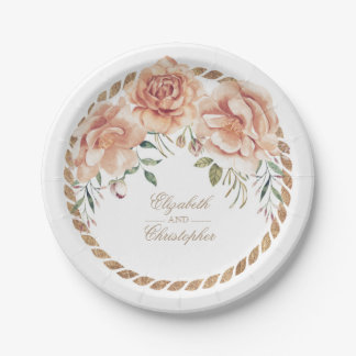 Cream Watercolor Floral Bouquet Vintage Wedding 7 Inch Paper Plate