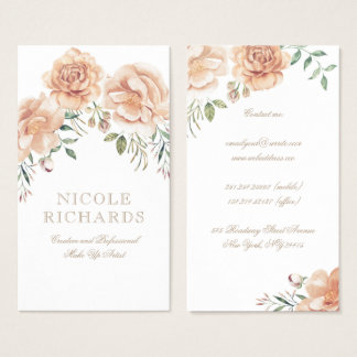 Cream Watercolor Flowers Bouquet Elegant Beauty Business Card