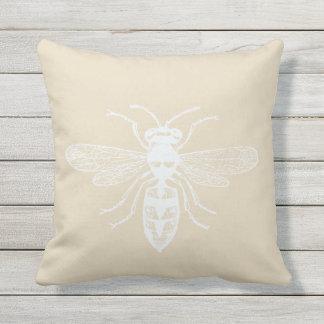 Cream White Personalized Bee Happy Throw Pillow