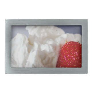 Cream with strawberries in a glass bowl rectangular belt buckle