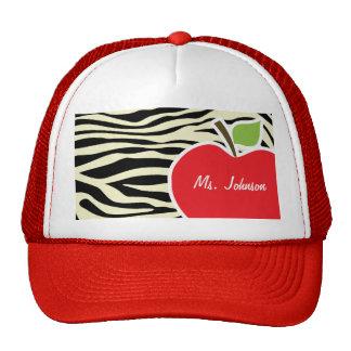 Cream Zebra Stripes Animal Print; Apple Hat