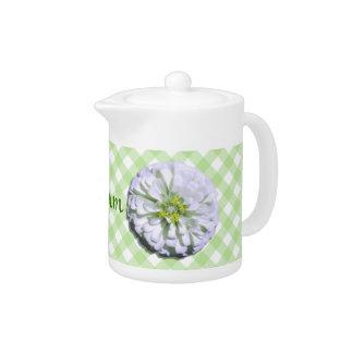 Creamer/Teapot - White Zinnia on Lattice