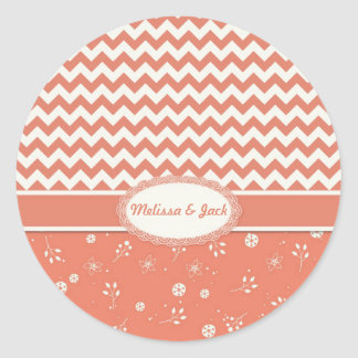 Creamsicle Chevron, Floral Classic Round Sticker