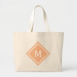 Creamsicle Orange Diamond Monogram Large Tote Bag