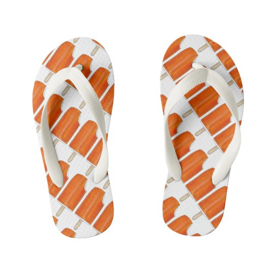 Creamsicle Orange Ice Cream Shoppe Popsicle Pops Kid's Flip Flops
