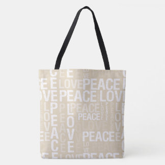 Creamy Beige Peace Love Tote Bag