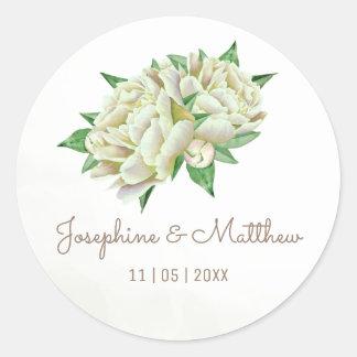 Creamy Peonies Watercolor Wedding Stickers