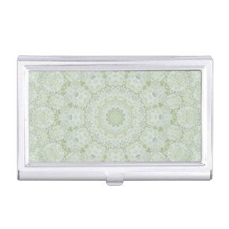 Creamy Rose and Light Green Mandala Kaleidoscope Business Card Holder
