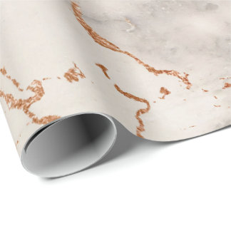 Creamy Rose Coral Blush Silver Gray Marble Stone Wrapping Paper