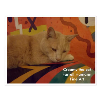 Creamy the cat in my atelier (studio) postcard