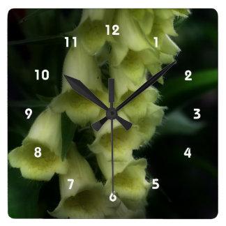 Creamy White Foxglove Flowers Wallclock