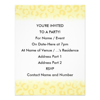 Creamy Yellow Leopard Print Pattern. Invitations