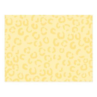 Creamy Yellow Leopard Print Pattern. Postcard