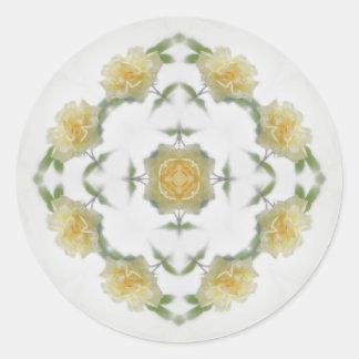 Creamy Yellow Rose Kaleidoscope Art 1 Classic Round Sticker