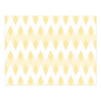 Creamy Yellow Zigzag Pattern with Diamond Shapes. Postcard