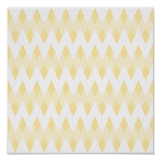 Creamy Yellow Zigzag Pattern with Diamond Shapes. Poster